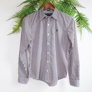Ralph Lauren Striped Button Down Shirt Brown White